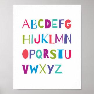 För alfabetbarnkammare för ABC färgrik dekor för Poster