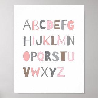 För alfabetbarnkammare för ABC färgrik flicka för Poster