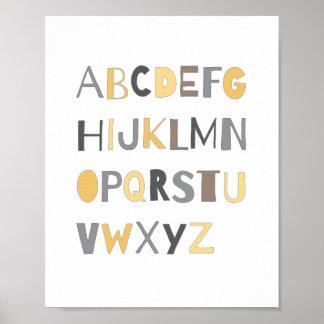 För alfabetbarnkammare för ABC färgrik pojke för Poster