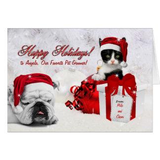 för älsklings- Groomer på jul katt och hund Hälsningskort