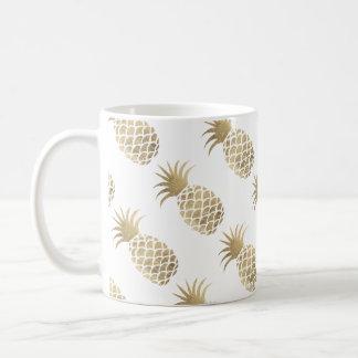 För ananaskaffe för chic elegant faux guld- tid kaffemugg