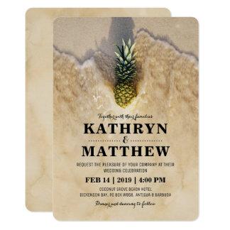 För ananasstrand för vintage tropiskt bröllop 12,7 x 17,8 cm inbjudningskort