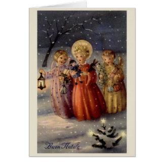 För änglarjul för vintage italienskt kort för
