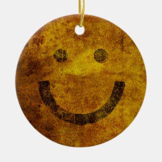 För ansiktejul för bekymrad Smiley lycklig prydnad Rund Julgransprydnad I Keramik