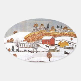 För antik vinter för ladugård Folkart för Ovalt Klistermärke