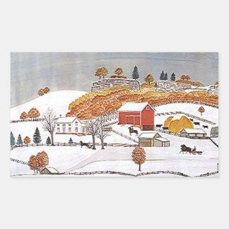 För antik vinter för ladugård Folkart för Rektangulärt Klistermärke