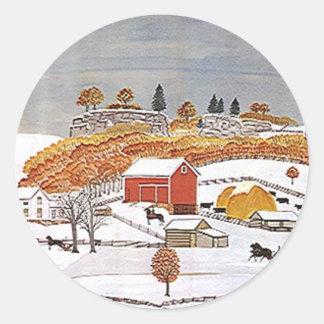För antik vinter för ladugård Folkart för Runt Klistermärke