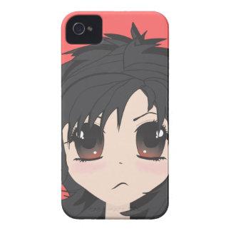 För arg Chibi lite flicka med svart hår Case-Mate iPhone 4 Skydd
