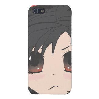 För arg Chibi lite flicka med svart hår iPhone 5 Fodral