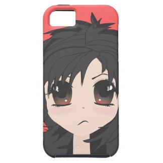 För arg Chibi lite flicka med svart hår iPhone 5 Hud
