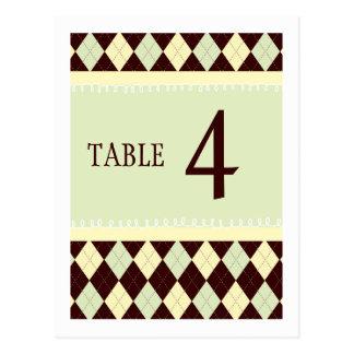 För Argyle för neutraltgröntgult kort bordsnummer