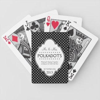 För årsdagbröllop för Polka prickig personlig Spelkort