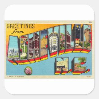 För Asheville för Retro hötorgskonst för vintage Fyrkantigt Klistermärke
