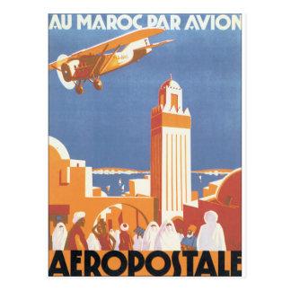 För Avion för AuMaroc Par affisch vintage resor Vykort