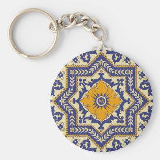 För Azulejo för Monogram keramiska blått Keychain Rund Nyckelring