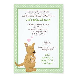 För baby showerinbjudan för känguru neutral grönt 12,7 x 17,8 cm inbjudningskort