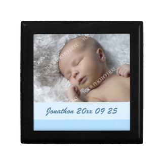 För babyfoto för blått beställnings- minnessak Gif Smyckeskrin