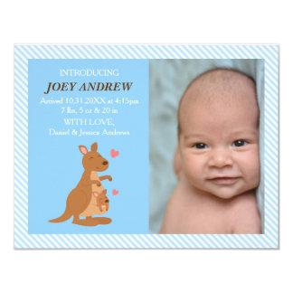 För babyfoto för gullig känguru känguruunge 10,8 x 14 cm inbjudningskort