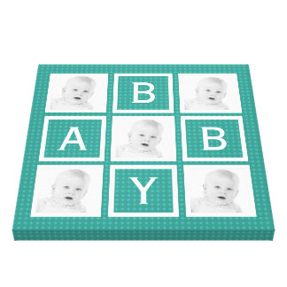 För babyfoto för mod kricka mönstrat raster canvastryck