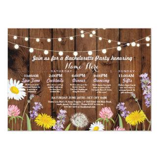 För Bachelorette för möhippa rese- blommor vild 12,7 X 17,8 Cm Inbjudningskort