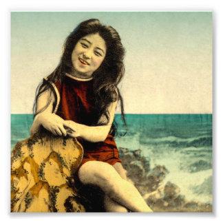 För baddräktbadning för vintage japansk skönhet fototryck