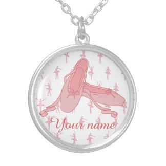 För baletttofflor för personlig rosa Ballerina Silverpläterat Halsband