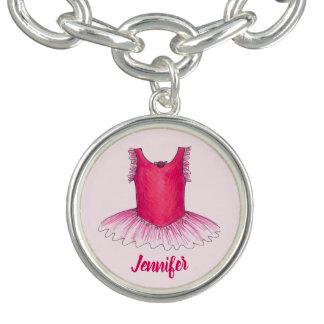 För BallerinaTutu för personlig rosa gåva för dans Armband