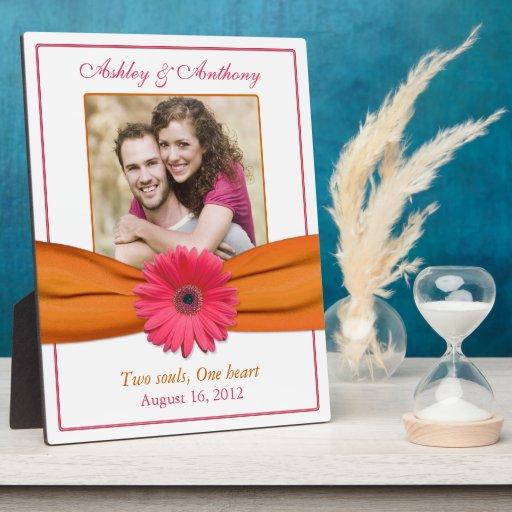 För bandbröllop för rosa Gerbera orange platta för Utställning Plack