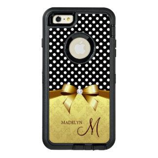 För banddiamant för elegant polka dots guld- OtterBox defender iPhone skal
