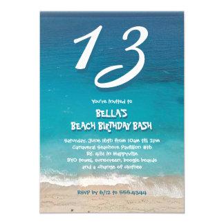 För barn för havstrandfödelsedagsfest 12,7 x 17,8 cm inbjudningskort