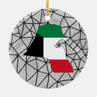 För barn: Idérik Kuwait flagga med kartan Julgransprydnad Keramik
