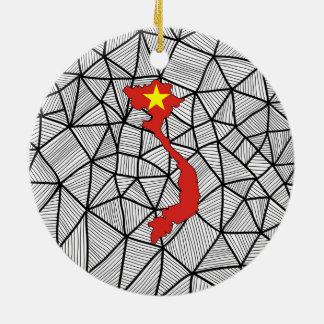 För barn: Idérik Vietnam flagga med kartan Julgransprydnad Keramik