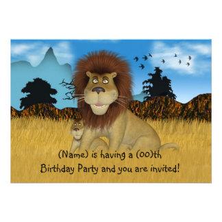 För barnfödelsedag för tecknad lejon inbjudan
