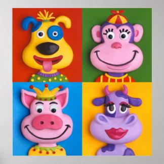 För barnrum för fyra djur ansikten barnkammare poster