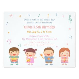 För barns födelsedagparty för gullig musik Themed 10,8 X 14 Cm Inbjudningskort