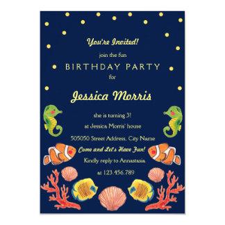 För barns födelsedagparty för lyckligt hav djur 12,7 x 17,8 cm inbjudningskort