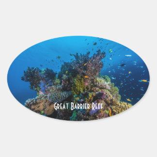 För barriärrevkorall för tropisk fisk underbart ovalt klistermärke