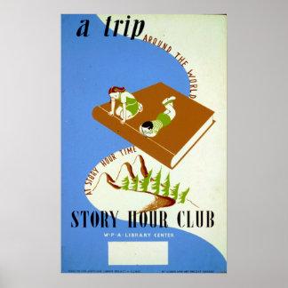 För berättelsetimme för vintage läs- bokklubb WPA Poster