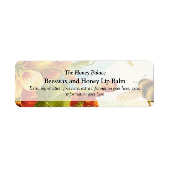 För bibad för honung blom- etikett för produkter f returadress etikett