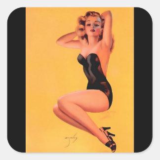 För Billy DeVorss för vintage Retro flicka pinup Fyrkantigt Klistermärke