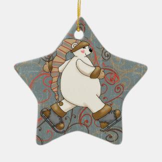 För björnhelgdag för skridskoåkning polar prydnad julgransprydnad keramik