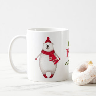 För björnkaffe för gullig god jul polar mugg