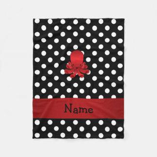 För bläckfisksvart för personlig känd röd polka fleecefilt