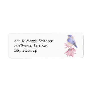 För blåsångareblått för vattenfärg östlig fågel returadress etikett
