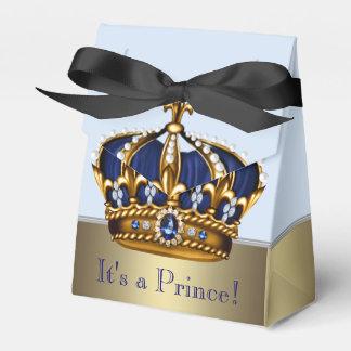 För blått guld- för krona baby shower för Prince Presentaskar