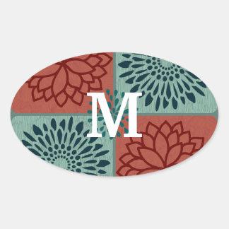 För blåttblomma för Monogram röda kvarter för färg Ovalt Klistermärke