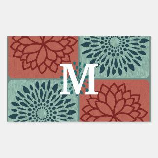 För blåttblomma för Monogram röda kvarter för färg Rektangulärt Klistermärke
