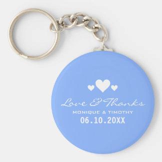 För blåttbröllop för älsklingar mjukt tack rund nyckelring