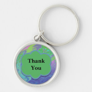 För blåttgrönt för tack färgrik abstrakt rund silverfärgad nyckelring