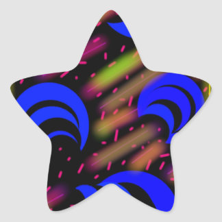 För blåttneonmåne och glansiga stjärnformat klistermärke